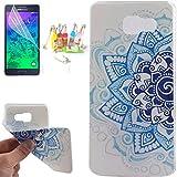 CaseMa-EU Etui Housse TPU Protecteur Shell Coque Case Cover pour Samsung Galaxy A3 (2016) 4.7 inch (Bleu moitié fleur OK) avec Gratuit Protection d'écran