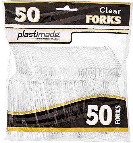 plastimade Besteck Heavy Gewicht CLEAR Gabeln aus Kunststoff 50Gabeln in einer Packung Fancy Gabeln