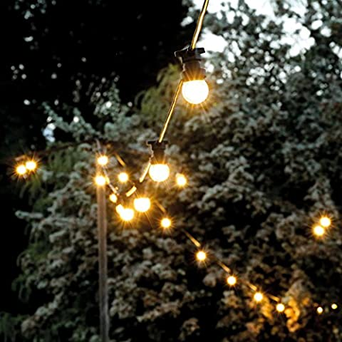 Outdoor Frosted Festoons - Extendable - 10 E27 Sockets - Warm White - 10m - LED Bulbs - by Festive