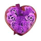 9PCs Herz duftende Bad Seife HARRYSTORE Körper Blütenblatt Rose Blume Seife Hochzeit Dekoration Geschenk (Lila)