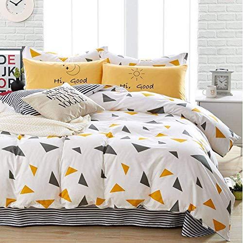 Lanqinglv Gelb Geometrisch Bettwäsche 220 x 240 cm 3 teilig Erwachsene Bettwäsche Renforce mit Reißverschluss Weiß Bettbezüge und 2 Kissenbezüge (SW,K) - Erwachsene Bettwäsche