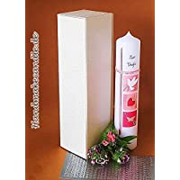 Taufkerze für Mädchen/Rosa / 300x60 mm/Zubehör zum selbstbeschriften dabei/Verpackungskarton kann für die Aufbewahrung der Kerze später benutzt werden/Handarbeit