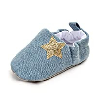 Newborn Baby Shoes Pentagram Cowboy Shoes Soft Sole Infant Shoes Casual Shoes (12-18 Months, Light Blue)