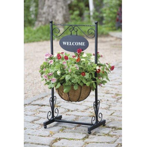 GARDMAN WELCOME FLOWER PLANTER WROUGHT IRON GARDEN/PATIO/PORCH ORNAMENT NEW
