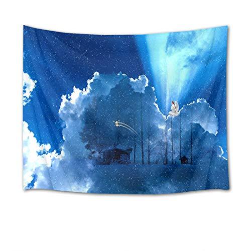 EOB Christian Tapisserie Wandbehang,Der Gott Blue Sky Cloud Snow Kunstdruck-Tapisserie-Hauptdekoration für Schlafzimmer-Wohnzimmer-Schlafsaal,200x150cm