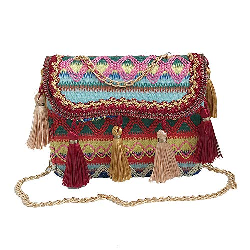 ALIKEEY Vintage Mujeres Tejiendo Borla Bolso De Hombro