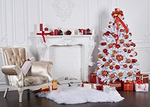 AIIKES 7x5FT/2,1Mx1,5M Weihnachten Kunst Tuch Fotografie Hintergründe Prop Weihnachtsbaum Kamin Weihnachten Thema Fotostudio Hintergrund 11-189