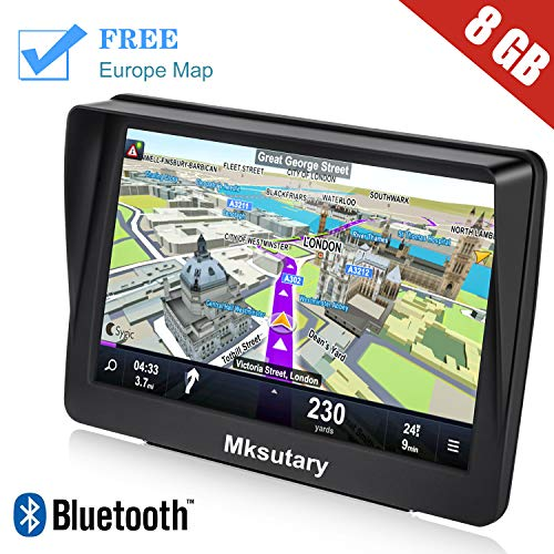 Mksutary GPS para Coche de 7 Pulgadas Pantalla con Bluetooth, Gratis de Mapa de Europa Toda la Vida GPS para Camiones