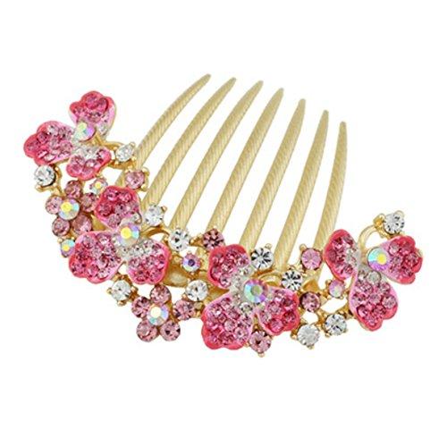 Femmes élégantes cheveux Big clip avec belle fleur de bijoux, rose