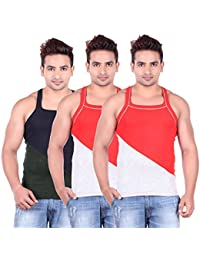 Lienz Fit Men's Sports Gym Vest Black And Red Color - Pack Of 3