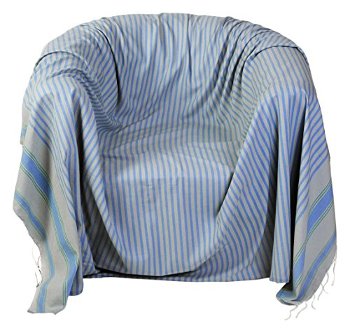 Fouta Futée Marrakesch Sessel-Überwurf, quadratisch aus Baumwolle Mehrfarbig 200x 200cm