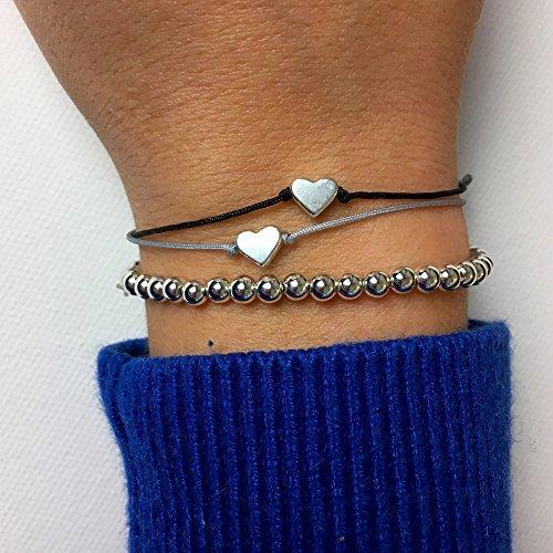 Herz Armband Textil Grau Silber - Handmade Armbändchen mit Herz