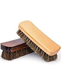 Cabello de Caballo Zapatos Cepillos, Luxebell 2 Pcs de Madera de Gran Limpieza / Pulido Cepillos de Caballo para Botas / Zapatos