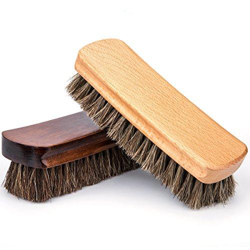 Pferdehaar Schuhbürste, Luxebell 2 Stück Schuhbürste Ideal für Reinigen oder Polieren alle Lederschuhe