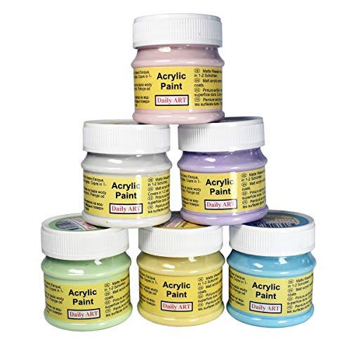 Daily Art Premium Craft - Juego de pinturas acrílicas 6x50ml Pastel