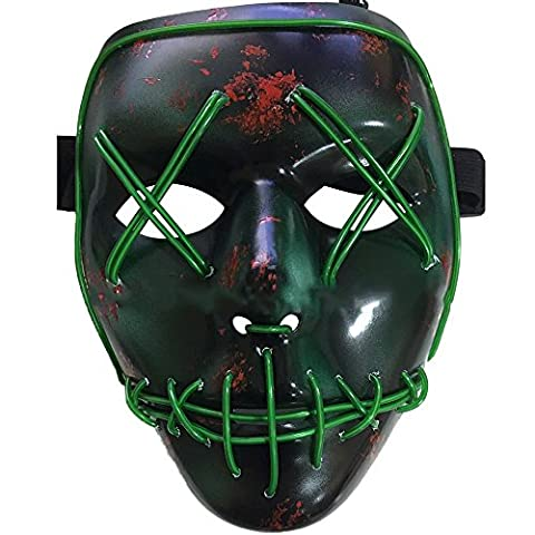 LED Halloween Masques,Allumer Masques,Pour Noël Halloween Cosplay Grimace Festival Party Show, Alimenté par batterie (non inclus)