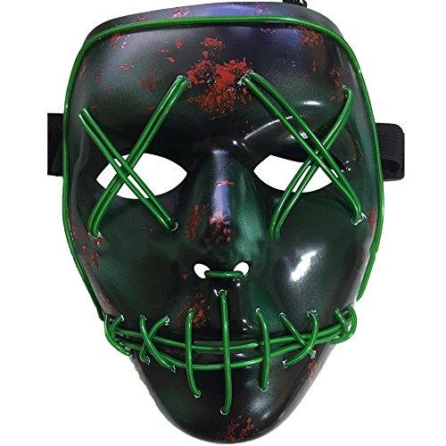 ,Erschreckend LED leuchten Maske,Für Festival,Cosplay,Halloween,Kostüm,Batterie Angetrieben(nicht enthalten) (Halloween-kostüme Nicht)
