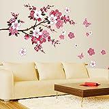 Minuya Pfirsichblüte Pink Rose Romantisch Design Kreativ Cool Wandtattoo Wandsticker Wallpaper Wohnzimmer Schlafzimmer Hause DIY Aufkleber Tapete (60*90CM)
