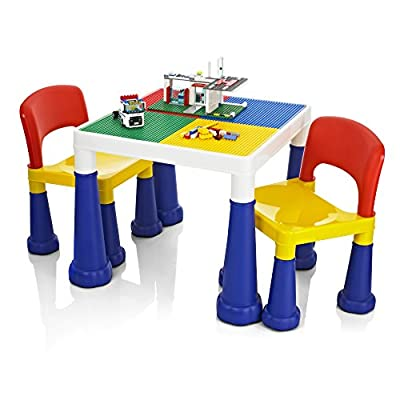 KiddyPlay 2 in 1 Activity Table & Chairs - low-cost UK light shop.