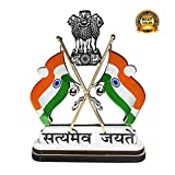 #6: Satyamev Jayate Indian Cross Flag With Dual Print on Acrylic Base and Attached With Glass
