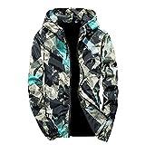Xmiral Herren Jacke Outwear Winter Camouflage Print Pullover Langarm mit Kapuze Mantel (XL,Grün)