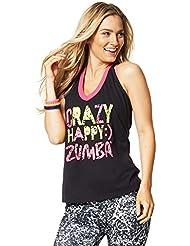 Zumba Fitness Crazy Happy Halter - Camiseta sin mangas para mujer, color negro, talla S