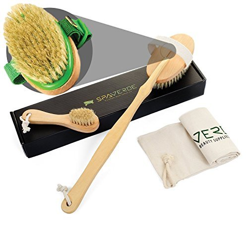 Stretch Mark Reducer (SpaVerde Natural Boar Bristle Body Brush and Face Brush Set for Dry Brushing, Bath and Shower, Green)