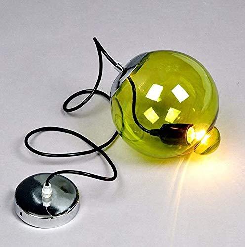 One-Light Black Anhänger Decken Hängeleuchte mit Green Bubble Glass Shade für Küche und Esszimmer,Grün [Energieklasse A ++]