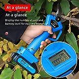 Tijeras de podar eléctricas, con pantalla LED, 21V Podadoras para Rama de Árbol, cortadora de ramas eléctrica Profesional, con 2 Batería de Litio Recargable para árboles Jardín 3.2〜3.5cm