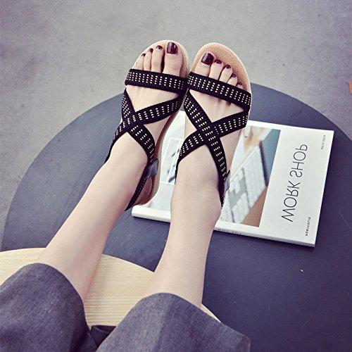 XY&GK Donna Sandali Estate a fondo piatto dita nude bassa e cinghia elastica studenti Tempo libero scarpe da lavoro le scarpe da spiaggia di marea Black