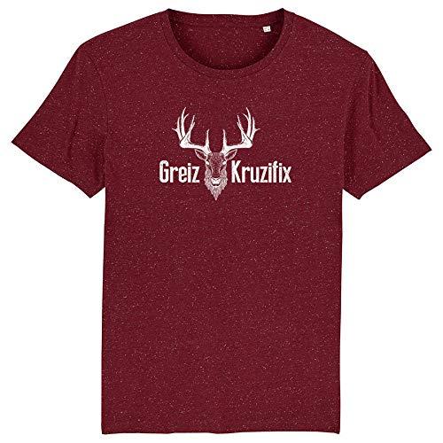 Trachten T-Shirt Greiz Kruzifix Bio Baumwolle S-3XL Trachtenshirt Oktoberfest Bayrisch Wiesn Lederhosen Männer Herren Hirsch Österreich (Dark-Heather-Burgundy-Weiss, XXL)