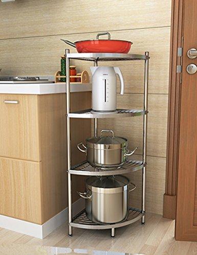 Anna Étagères de Cuisine Acier Inoxydable Cuisine Triangle Grilles étage Multi-Pot Rack de Stockage mis Pot Coin Stockage Rack (Taille : 4 Layers)