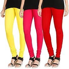 9cc41214bb8500 HRINKAR LIGHT YELLOW DARK PINK RED Soft Cotton Lycra Plain leggings for girls  combo Pack of