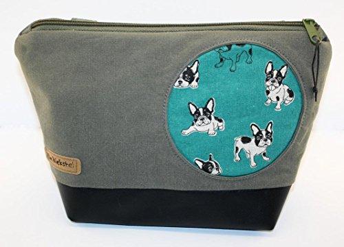 Waschtasche mit Henkel | Kulturbeutel zum Aufhängen | Kosmetiktasche | Wash Bag | Lkw-Plane | Wachstuch | Hunde Upcyling Unikat