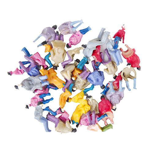 Environ. 50pcs Figurines Passagers Assis Peints Miniature Décor pour Train Echelle 1:87 HO 0082045090345