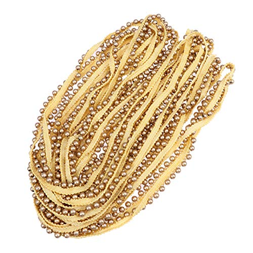 Bluse Cap (SUPVOX 6MM Pearl Lace Ribbon Stoff Spitze Single Row für Kleid Sarees Blusen Caps Taschen Dekorationen (Golden, 10 Yards))
