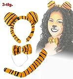 Tiger-Set 3-tlg. (Schwanz, Schleife, Haarreif mit Ohren)Plüschset Plüsch Tigerlein Tigerset Tigerkostüm Stubentiger Accessoire Kostümzubehör Verkleidung