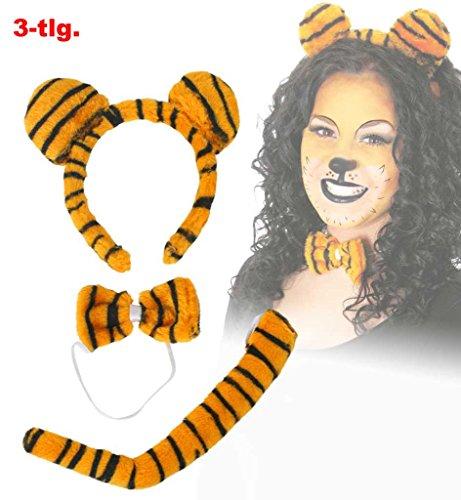 Tiger-Set 3-tlg. (Schwanz, Schleife, Haarreif mit Ohren)Plüschset Plüsch Tigerlein Tigerset Tigerkostüm Stubentiger Accessoire Kostümzubehör (Kostüme Günstige Accessoires)