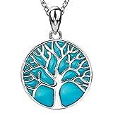 apotie Sterling 925Silber Charms Tree of Life Glow Glück Anhänger Halsketten Geschenke Schmuck für Frauen und Familie