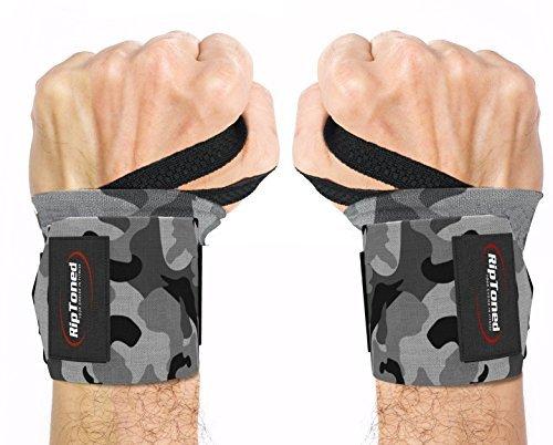 Rip Toned Handschützer 45,7cm Profi Handgelenkbandage mit Daumen, reggipolso Unisex für Gewichtheben, Crossfit, Workout für die Kraft und Stärkung von, eBook in Geschenk Einheitsgröße Gray Camo