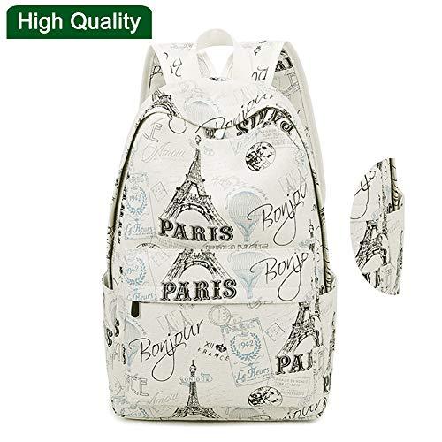 PL&Backpack Rucksäcke High School,Eiffelturm Rucksäcke drucken Rucksack Leinwand Schulranzen für Teenager Mädchen Studenten Tasche,003 -