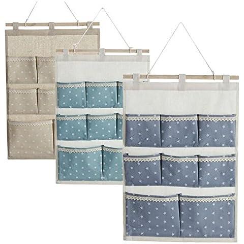 Organizador colgante 8 bols colores estrellas para cuarto de baño (Azul)