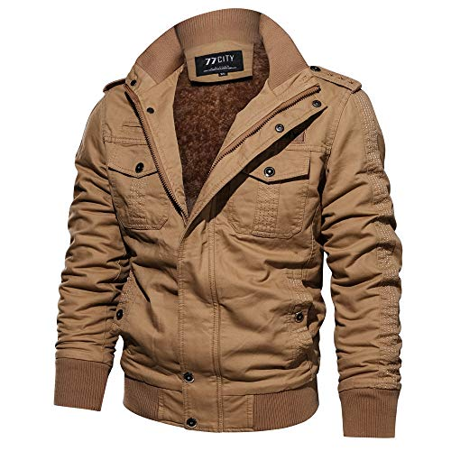NINGSANJIN Herren Winter Slim Fit Wollmantel Business Überzieher Schlank Lange Windbreaker Jacken (Khaki,L)