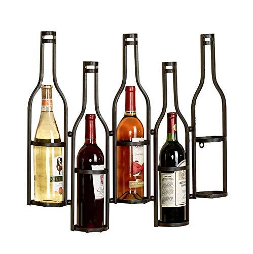 Hyl Étagère à vin Porte-Verres Metal Fixation Murale Porte-Bouteilles Support Bouteilles Autoportant Joli Bar à vin Cave Cabinet sous-cellier Cuisine pouvant contenir Jusqu à 5 Bouteilles,Noir
