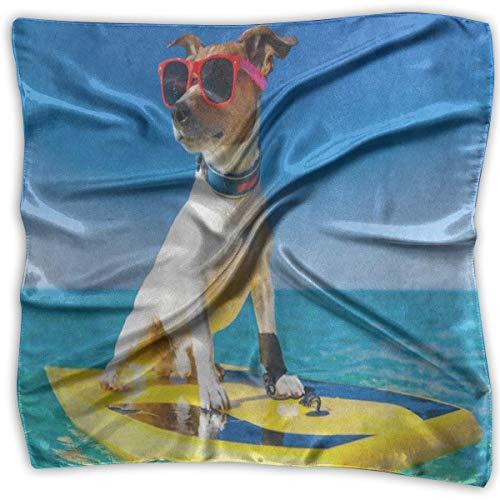 Xukmefat Square Scarf Dog Surfing Surfboard Sonnenbrille Ocean Sea Head & Neck Unisex Stirnband Krawatte für Erwachsene