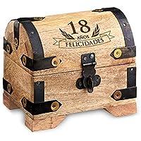 Cofre de madera clara – Para el 18 cumpleaños – Estándar – Caja de madera clara para regalar dinero – Regalo original y divertido – 10 cm x 7 cm x 8,5 cm – Caja de almacenaje, hucha o alhajera – Regalos bonitos