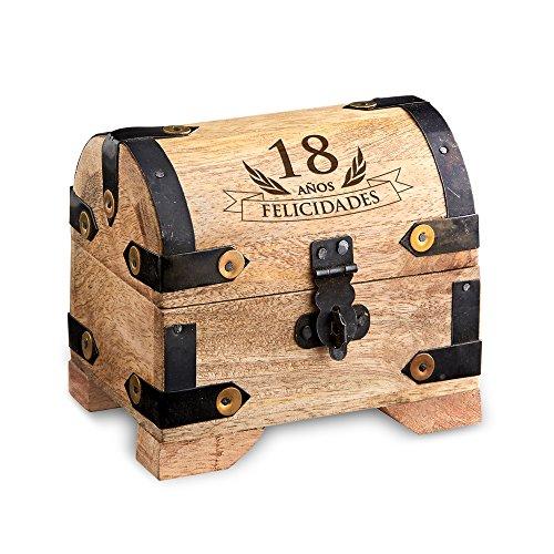 Casa Vivente – Cofre de Madera Clara – Para el 18 Cumpleaños – Caja de Madera Clara para Regalar Dinero – Regalo Original y Divertido – 10 cm x 7 cm x 8,5 cm – Caja de Almacenaje, Hucha o alhajera – Regalos bonitos