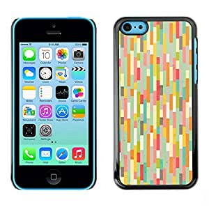 Omega Covers - Snap on Hard Back Case Cover Shell FOR Apple iPhone 5C - Teal Pink Pastel Warm Colors Stripes