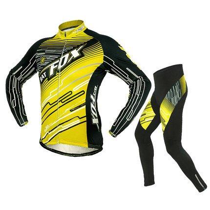 Shinmax Mens Fahrrad Trikot und 3D Gepolsterte Kompression Hosen Strumpfhosen Set Outfit, Boy Mountain Road Cycle Trikot Bike Reitkleidung Fahrrad Fahrrad Trikot Langarm Sportbekleidung Bekleidung Radfahren Jerseys (Gelb, XL (Kasten (Spandex Gelb Anzug)