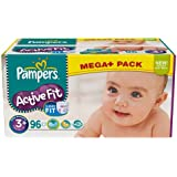 Couches Pampers Active Fit Méga + T3+ x96